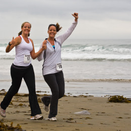 1 of 2 Two delightful girls give thumbs up - Runners at 1st Annu